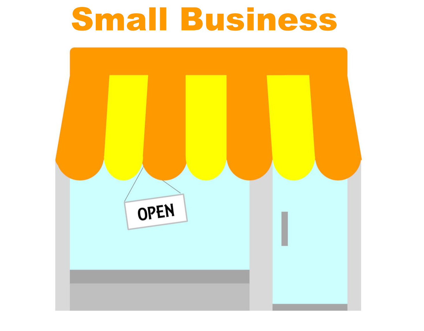 small business store front with an open sign